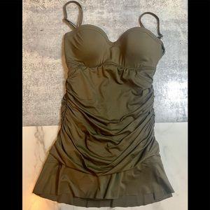 Calvin Klein Swimwear Suit Olive Green One Piece